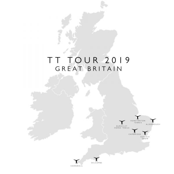 United Kingdom map with the Tom's Trunks logo across different locations from England
