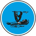 Round blue and black dying fabric icon