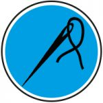 Round blue and black needle and thread icon