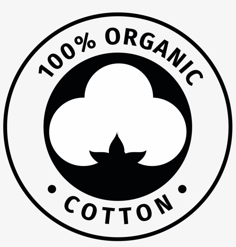 Round black vector of a 100% organic cotton seal with a cotton flower in the middle