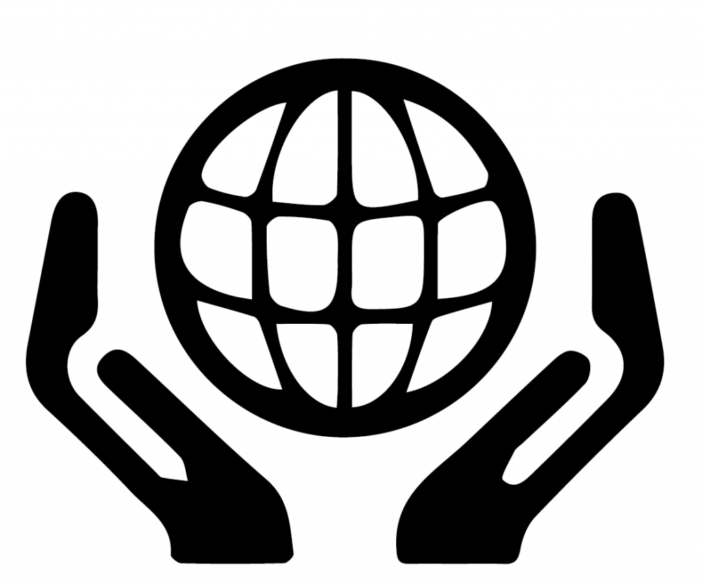 Black vector of two hands holding a globe