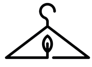 Black vector of a hanger with a leaf inside