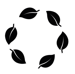 Black vector of six leaves forming a circle